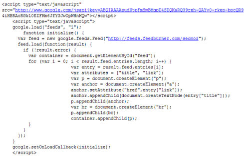 Ajax Feed API Source Code